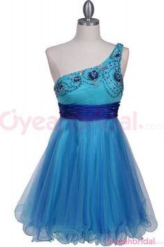 homecoming dresses, one shoulder homecoming dress, blue homecoming dress, short dress