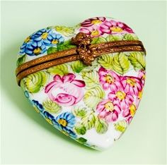 Limoges Summer Garden Flowers Heart Box The Cottage Shop