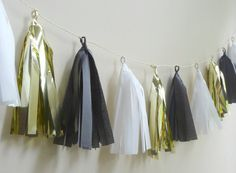 DIY these? Roaring - Black, White and Metallic Gold Tissue Tassel Garland - One Stylish Party Black Gold Party, Black White Parties, Black And White, 30th Birthday Parties, Grad Parties, Mom Birthday, Roaring 20s Party, Roaring Twenties, Flapper Party