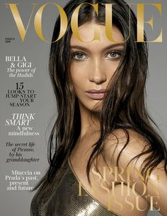 Sultry: Bella faces the camera face-on, her dark hair contrasting her bright eyes and dewy...  #bellahadid #models #blackandwhite