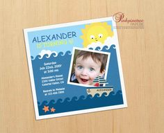 Fun sea themed custom photo Kids Birthday Party Invite. #children #child #kids #sea #nautical #birthday #party #customizable #add #name #your #photo #boat #ship #ocean #blue #boy #sun #custom #invitation
