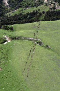 Cracks in farmland around Conway near Kaikoura, New Zealand, are seen after a powerful earthquake, Monday, Nov. 14, 2016. A powerful earthquake that rocked New Zealand on Monday triggered landslides and a small tsunami, cracked apart roads and homes, but largely spared the country the devastation it saw five years ago when a deadly earthquake struck the same region. (David Alexander/SNPA via AP)