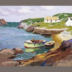 Donald McIntyre (British, 'Little Harbour'. Sweetest Devotion, Landscape Paintings, Sea Paintings, Cat Art, Painting Inspiration, Art Quotes, Art Drawings, Illustration Art, Abstract