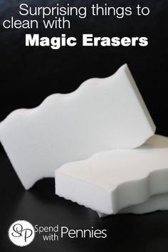 Surprising things you can clean with a Magic Eraser! Love it? Pin it to SAVE it! Follow Spend With Pennies on Pinterest for more great tips, ideas and recipes! Add your own great tips in the comments below! What is a magic eraser and why is it so great? This handy little sponge shaped tool is activated by water and is every mom's dream come true. It can clean just about any hard surface with ease and the many uses  {Read More}