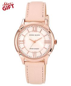 Anne Klein Watch, Women's Light Pink Genuine Lamb Leather Strap 36mm AK-1010RGLP - Women's Watches - Jewelry & Watches - Macy's
