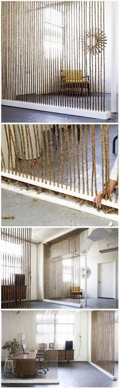 DIY Rope Wall... Good idea to open up cubical spaces. Especially where coworker often have to come together to finish their work.