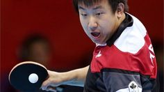 Canada's Eugene Wang competes in table tennis