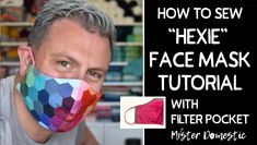 Rainbow Hexie Face Mask with Filter Pocket (Tutorial) - Mister Domestic Diy Face Mask, Simple Face, 3d Face, Pocket Pattern, Homemade Face Masks, Christen, Inspire Others, Sewing Hacks, Scrappy Quilts