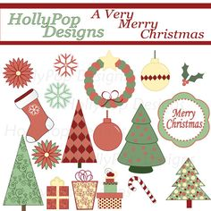 A Very Merry Christmas Clip Art Set  by HollyPopDesigns