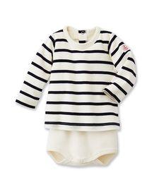 2 en 1 body T-shirt bébé mixte à rayure marinière