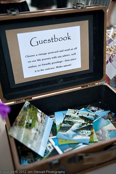 guestbook: have guests sign the backs off old postcards