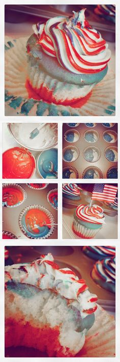 fourth of july cupcakes - make these for fourth of july, or alter colors for any holiday or your favorite sports team