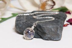 Eco Chic Purple Lavender Necklace Natural Eco by LomharaJewellery