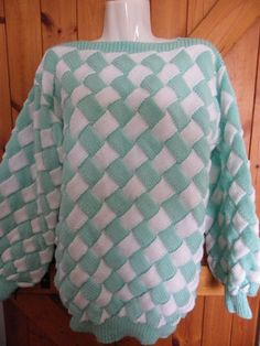 Hand knitted ladies jumper sweater in white and mint woven effect entrelac £35.00