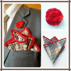 Tartan Pocket square and red flower. #elegant http://toptrendhombre.com/blog/tienda-online/panuelos/pocket-square-tartan-marron-con-ribete-rojo-jakob-buchli/