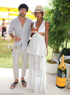 Perfect: Models Tobias Sorensen and Jasmine Tookes struck a glamorous pose together at the annual event