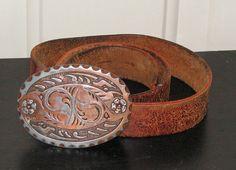 Vintage Chambers Belt Buckle / Vintage Leather Belt / Country Western Belt