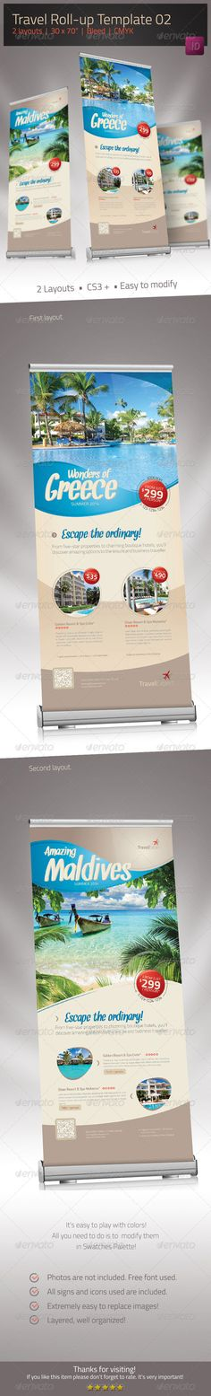 Buy Travel Roll-up Banner 02 by sabin_vp on GraphicRiver. Travel Roll-up Description This simple and efficient Travel Roll-up is ideal for travel agencies who want to present . Rollup Banner, Bunting Banner, Web Banner, Banners, Standing Banner Design, Standee Design, Bunting Design, Roll Up Design, Banner Template