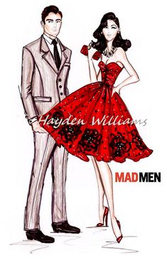 Hayden Williams Fashion Illustrations: Hayden Williams for Mad Men collection