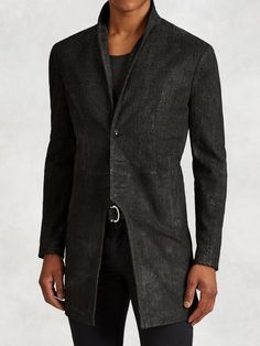 Men's 3/4 Length Coat In Scored Leather by John Varvatos