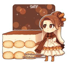 Chibi Tiramisu by Kawaii Anime, Chibi Kawaii, Cute Anime Chibi, Kawaii Art, Cute Food Drawings, Kawaii Drawings, Chibi Food, Chibi Characters, Chibi Girl
