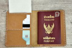 Hand Stitched nubuck leather Passport Case Passport by LeatherWay