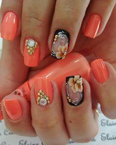 Unicorn Nails, Boxing Day, Hot Nails, Orange Nails, Gel Nail Designs, Flower Nails, Easy Nail Art, Beautiful Nail Art, Nail Stamping