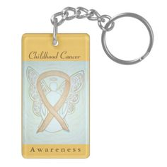 Childhood Cancer Awareness Angel Gold Ribbon Keychain