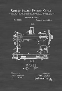 A patent print poster of one of a Sewing Machine invented by Wilbur Dial. The patent was issued by the United States Patent Office on August 2, 1892. Sewing machines were invented during the first Industrial Revolution to decrease the amount of manual sewing work performed in clothing companies. Patent prints allow you to have a ...