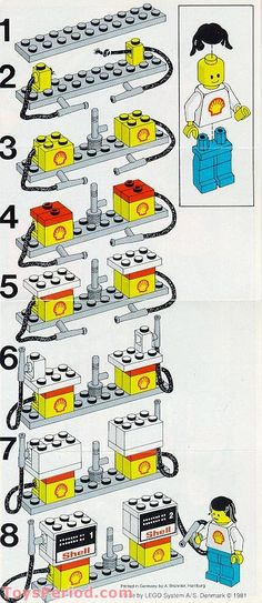 """The instructions for LEGO set 6610, """"Gas Pumps"""". Released in 1981, and hot on the heels of the '70s, I'm wondering if they hoped with this set to up-sell all the LEGO cars that would inevitably be lined up at the pumps."""