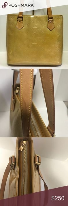 Authentic Monogram Vernis PM Yellow Tote Bag Authentic Pre-Loved Monogram Vernis PM Yellow Tote Bag Rank AB, Flaws posted, Sign of usage, Clean interior and Fair Condition Louis Vuitton Bags Totes