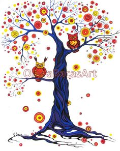 Tree Owl Autumn ORIGINAL illustration Fall by OlenaBacasArt, $40.00