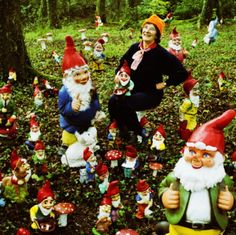 I might be that creepy lady someday who has a yard full of gnomes who lets you take a picture of her with them all because she's just so excited to have that many friends.
