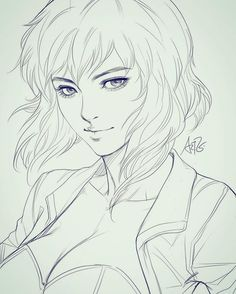 Sketching Motoko in class while students practicing eyes.