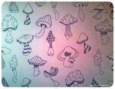 Ontwerp voor postpapier met het thema herfst. patroon van paddestoelen.  Design for a pattern, mushrooms in the fall.