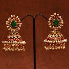 Anvi's designer polki pearl jhumkas with pearls and white stones - Indian earrings Pearl Jhumkas, Gold Jhumka Earrings, Indian Jewelry Earrings, Indian Wedding Jewelry, Gold Earrings Designs, India Jewelry, Gold Jewellery Design, Ear Jewelry, Necklace Designs