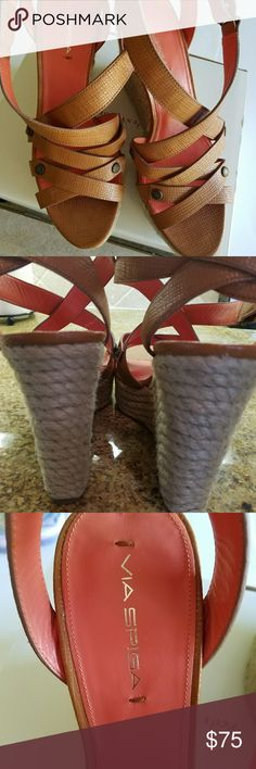"""Via Spiga Platform Sandals Very cute strappy leather sandle.  Heel measures 5"""" and just a bit over 1 1/2"""" near the toe. Brand new and don't appear to have ever been worn.  Happy to answer any questions you may have. Via Spiga Shoes Sandals"""