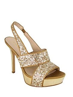 ? Shoes / NINE WEST glittery gold high heel sandal. Available at The Bay Scarborough Town Centre. #shoes #gold #sparkle ||