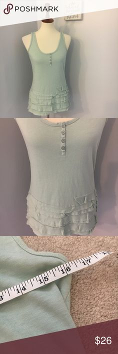 J. Crew Turquoise ruffled Henley tank top GUC. 16 inch bust and 25 inch length no trades. LAST PHOTO IS ONLY FOR MODEL PICTURE, I only have the Turquoise color available!! J. Crew Tops Tank Tops