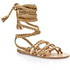 Ancient Greek Sandals Kariatida Braided Strap Suede Sandals ($640) ❤ liked on Polyvore featuring shoes, sandals, flat shoes, suede flat shoes, suede flats, flat pumps and flat heel shoes