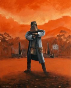 Ned Kelly last stand by Max Horst Sarah Hanson Young, Sidney Nolan, Cardboard Costume, Grim Reaper Tattoo, Ned Kelly, Melbourne Street, Architect Magazine, Last Stand, Airbrush Art