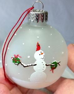 Cardinal and Snowman Christmas Ornament hand painted Maine
