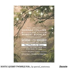 RUSTIC QUIRKY TWINKLE FOREST TREES WEDDING CARD WHIMSY RUSTIC TREES WITH A DASH OF TWINKLE WEDDING INVITATIONS | Elegant nature marriage invitations with a misty forest of trees, covered in twinkle lights and a variety of modern fonts.