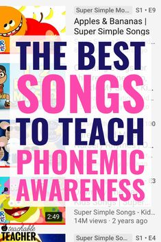 It's extra fun to teach phonemic awareness with songs and nursery rhymes. Preschool, kindergarten and first grade students will have a lot of fun learning letter sounds, rhyming and more with these videos. Phonemic Awareness Kindergarten, Phonemic Awareness Activities, Kindergarten Songs, Preschool Songs, Kindergarten Literacy, Preschool Learning, Fun Learning, Learning Activities, Nursery Rhymes Kindergarten