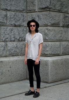 Topman Hat, Asos Shirt, H&M Skinny Jeans, Dr. Martens Shoes