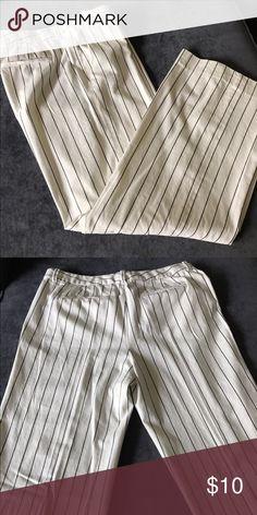 Ralph Lauren wide leg pants White striped wide leg pants.  Never worn. 100% cotton. Lauren Ralph Lauren Pants Wide Leg