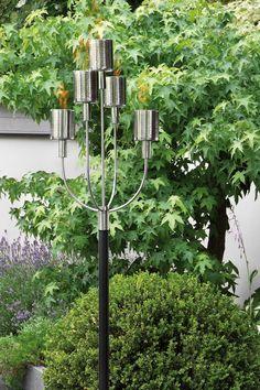 Outdoor Fackel NEVIS von Fink, 5-flammig, aus Edelstahl für Wege und Beete. http://www.deSaive-deSign.de/5er-Fackel-NEVIS…