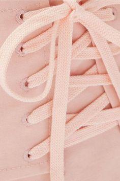 SEA - Lace-up Stretch-canvas Midi Skirt - Blush - US10