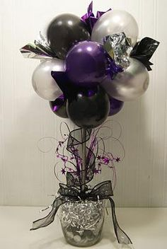 Balloon Topiary - Balloons, New Years Eve, Party, Topiary Balloon Topiary, Balloon Flowers, Balloon Arch, Balloon Bouquet, Party Decoration, Ball Decorations, Masquerade Party, Party Centerpieces, Centrepieces