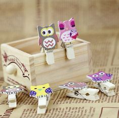 Mini Wooden Mixed Bears Pegs Photo Cards Holder Table Party Decoration 12pcs